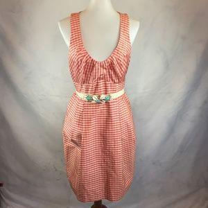 Nanette Lepore Pink Gingham Sleeveless Silk Dress